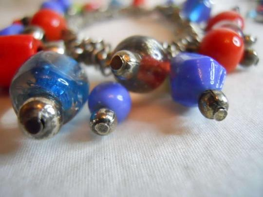 unknown Sterling glass bead bracelet & earrings