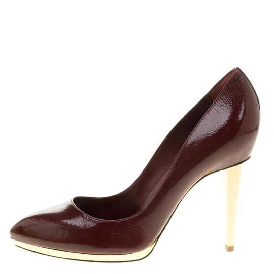 Sergio Rossi Patent Leather Pointed Toe Burgundy Pumps Image 4