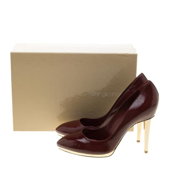 Sergio Rossi Patent Leather Pointed Toe Burgundy Pumps Image 7