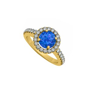 Marco B Halo Engagement Ring September Birthstone Sapphire with Cubic Zirconia