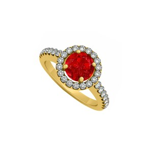 Marco B 14K Yellow Gold July Birthstone Ruby and Cubic Zirconia Halo