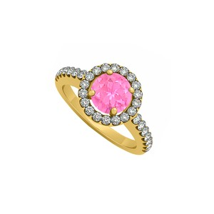 Marco B Pink Sapphire September Birthstone with Cubic Zirconia Halo Engagement