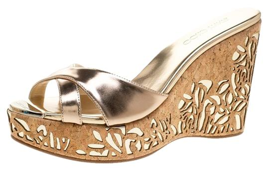 Jimmy Choo Gold Leather Wedge Metallic Sandals Image 0