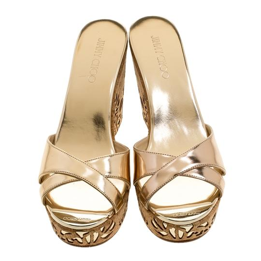Jimmy Choo Gold Leather Wedge Metallic Sandals Image 1