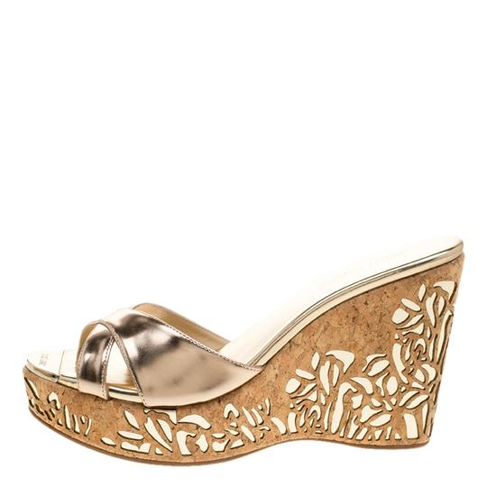 Jimmy Choo Gold Leather Wedge Metallic Sandals Image 4