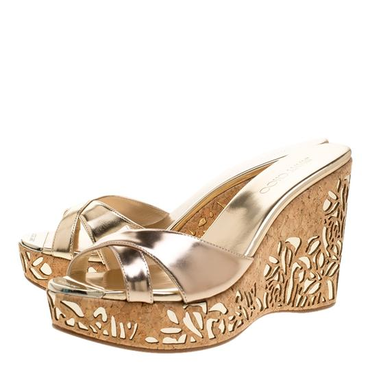 Jimmy Choo Gold Leather Wedge Metallic Sandals Image 5