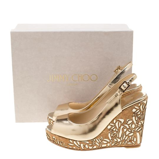 Jimmy Choo Gold Leather Wedge Metallic Sandals Image 7