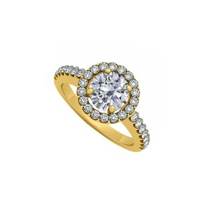 Marco B April Birthstone Cubic Zirconia 14K Yellow Gold Halo Engagement Ring 1