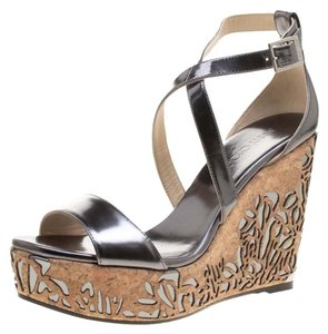 Jimmy Choo Wedge Crisscross Strap Metallic Sandals