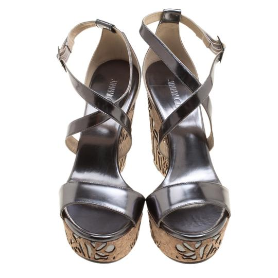Jimmy Choo Wedge Crisscross Strap Metallic Sandals Image 1