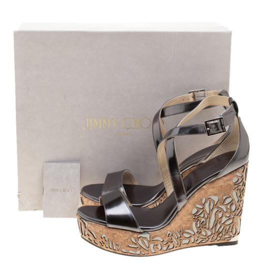 Jimmy Choo Wedge Crisscross Strap Metallic Sandals Image 7