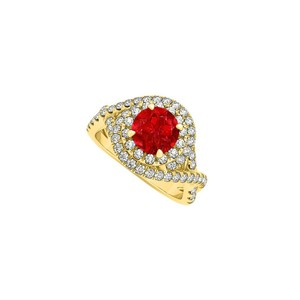 Marco B Closet Special Ruby CZ Criss Cross Engagement Ring