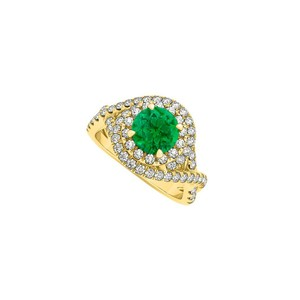 Marco B Emerald and CZ Criss Cross Halo Engagement Ring Gold