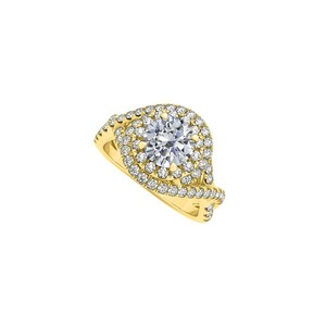 Marco B 1.75 CT CZ Swirl Halo Engagement Ring14K Yellow Gold