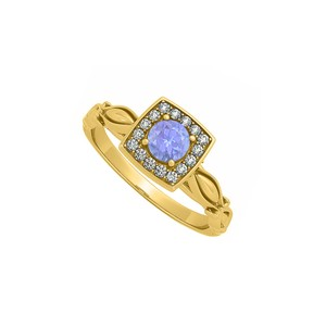 Marco B Artful Yellow Gold Square Ring with Tanzanite and CZ