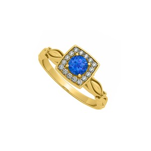 Marco B 1/2 CT T.W. Sapphire CZ Square Ring in Yellow Gold
