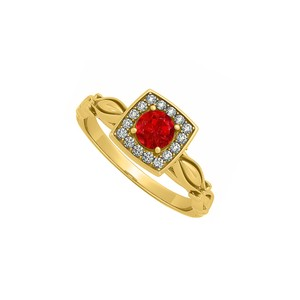 Marco B Artistic Ruby CZ Square Design Ring in 14K Yellow Gold