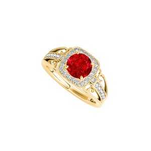 Marco B Filigree Design Ring with July Birthstone Ruby and CZ