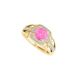 Marco B Pink Sapphire CZ Filigree Ring in 14K Yellow Gold