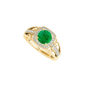 Marco B Emerald and CZ Filigree Design Ring in 14K Yellow Gold