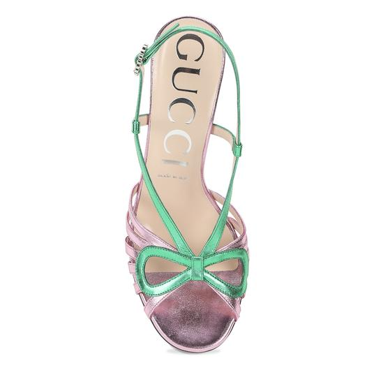Gucci Gg Espadrille Pink & Green Sandals Image 3