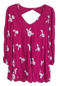 Free People short dress Berry Boho Embroidered Summer on Tradesy
