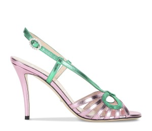 Gucci Gg Espadrille Pink & Green Sandals
