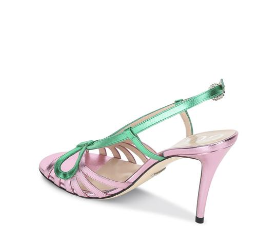 Gucci Gg Espadrille Pink & Green Sandals Image 1