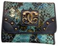 Sharif New Sharif Wallet Teal Blue Panther Emblem Original Leather Image 0