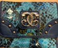 Sharif New Sharif Wallet Teal Blue Panther Emblem Original Leather Image 1
