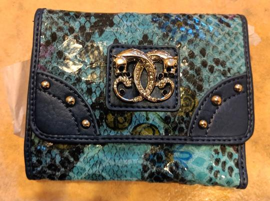 Sharif New Sharif Wallet Teal Blue Panther Emblem Original Leather Image 2