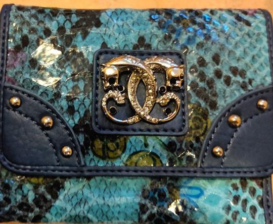 Sharif New Sharif Wallet Teal Blue Panther Emblem Original Leather Image 3