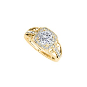 Marco B Filigree Design CZ Engagement Ring in 14K Yellow Gold
