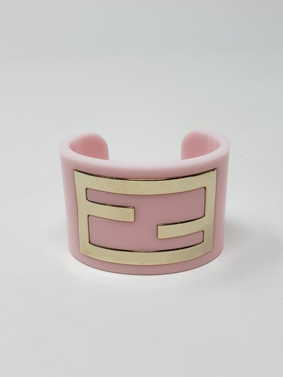 Fendi Pink resin gold-tone metal Fendi Zucca wide cuff Image 1