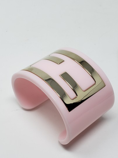 Fendi Pink resin gold-tone metal Fendi Zucca wide cuff Image 11