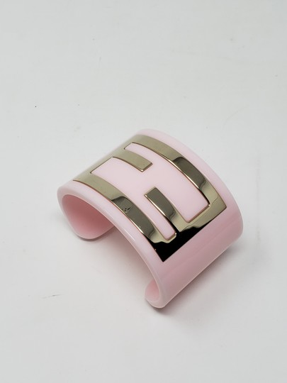 Fendi Pink resin gold-tone metal Fendi Zucca wide cuff Image 3