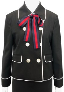 Gucci Double Breasted Stripe Bow Neck Tie Black Jacket