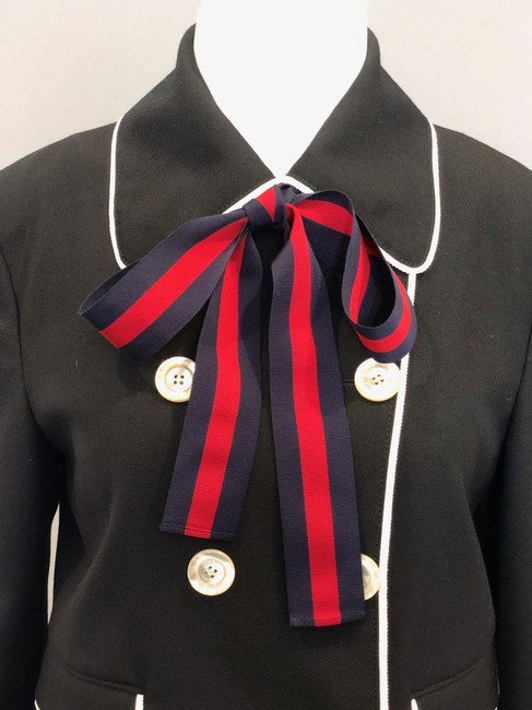 Gucci Double Breasted Stripe Bow Neck Tie Black Jacket Image 2