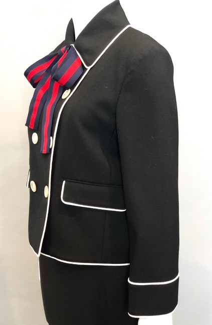 Gucci Double Breasted Stripe Bow Neck Tie Black Jacket Image 3