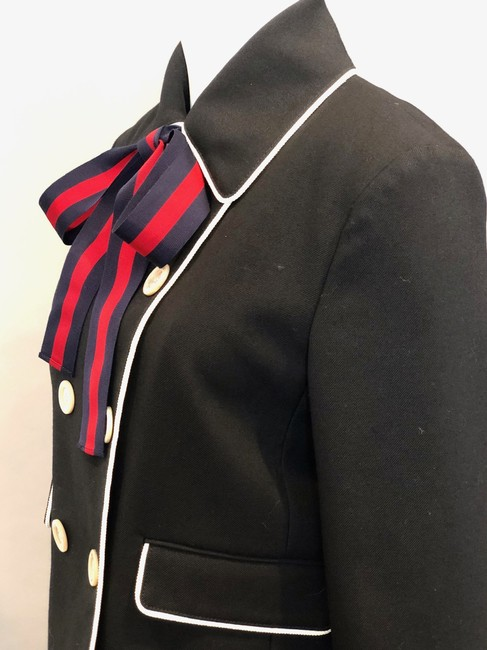 Gucci Double Breasted Stripe Bow Neck Tie Black Jacket Image 4
