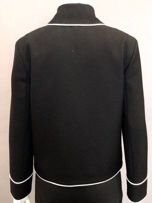 Gucci Double Breasted Stripe Bow Neck Tie Black Jacket Image 5