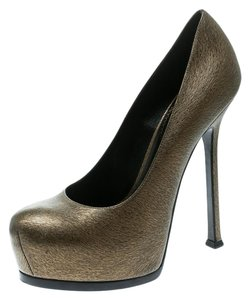 Saint Laurent Textured Leather Platform Green Pumps