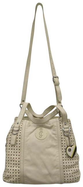 Item - Pippa-punched Up Hand/Shoulder White Cowhide Leather Satchel