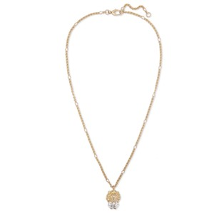 Gucci Lion head with crystal gold tone necklace