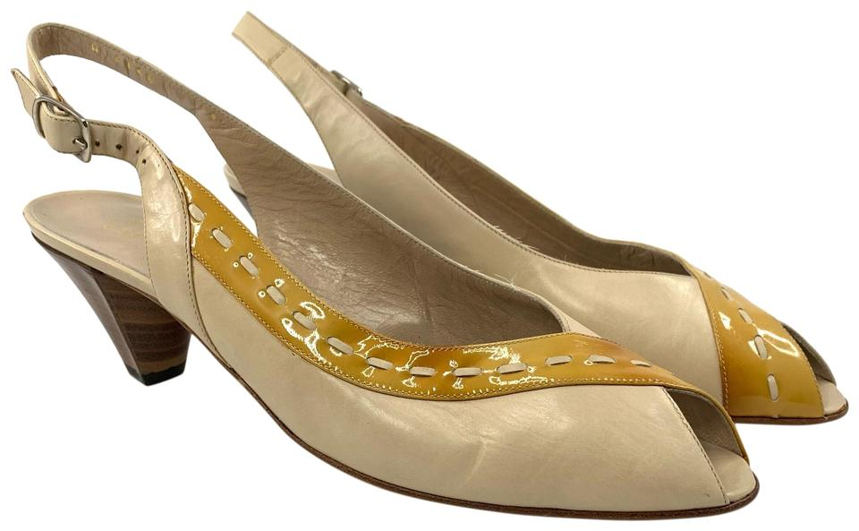 91bc3154a35 Bruno Magli Yellow and Cream V8317a4166 Pumps Size US 7.5 Narrow (Aa, N)  70% off retail