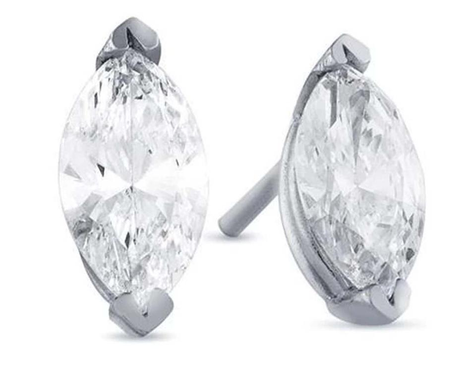 603c03c0f0f99 White Big Marquise Cut Diamond Stud Solid Gold 6 Carats Earrings 40% off  retail