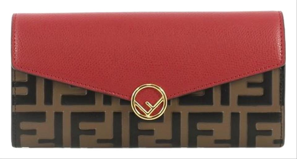 c630790e16 Fendi Continental Envelope Wallet Logo Embossed Red and Brown Leather  Wristlet 14% off retail