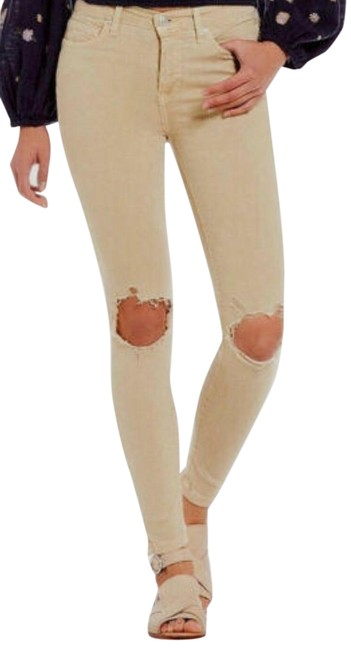 Item - Khaki Light Wash Busted Knee In Skinny Jeans Size 8 (M, 29, 30)