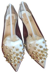 Christian Louboutin white with gold studs Pumps