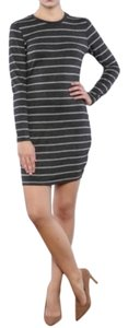 cupcakes and cashmere short dress Gray Knit Bodycon Striped on Tradesy